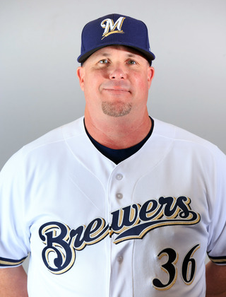 Derek Johnson in Milwaukee Brewer's uniform