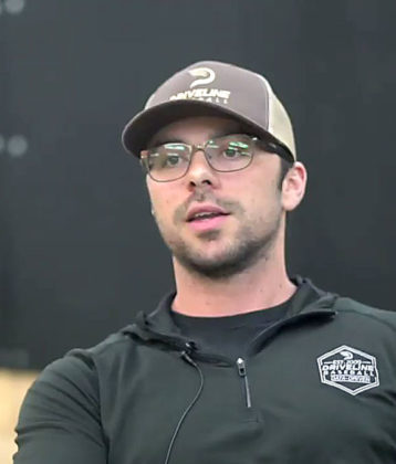 Jason Ochart in Driveline Baseball shirt and hat