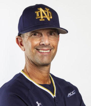 Link Jarrett in blue Notre Dame baseball uniform